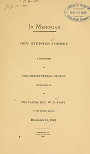 Cover of: In memoriam. Rev. Stephen Torrey by Swift, W. H. Rev.