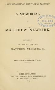 Cover of: The memory of the just is blessed | Newkirk, Matthew Jr.