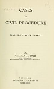 Cover of: Cases on civil procedure | Lloyd, William Henry