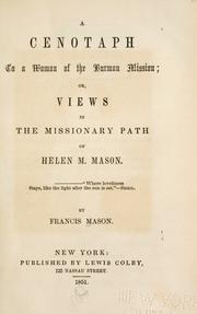 Cover of: A cenotaph to a woman of the Burman mission | Francis Mason