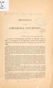 Cover of: Proceedings of the conference convention | Washington, D.C. Peace Conference, 1861