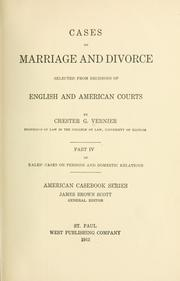 Cover of: Cases on marriage and divorce | Chester Garfield Vernier