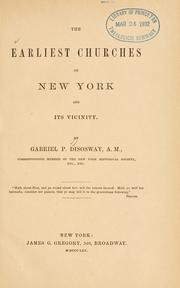 Cover of: The earliest churches of New York and its vicinity | Gabriel Poillon Disosway