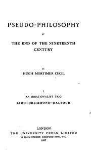 Cover of: Pseudo-philosophy at the end of the nineteenth century by Hugh Mortimer Cecil