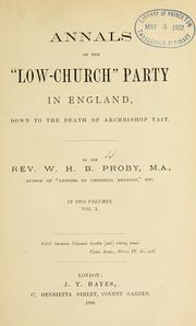 "Cover of: Annals of the ""low-church"" party in England, down to the death of Archbishop Tait 