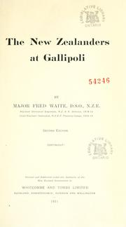 Cover of: The New Zealanders at Gallipoli by Frederick Waite