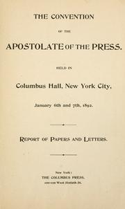 Cover of: The convention of the Apostolate of the Press by Apostolate of the Press.