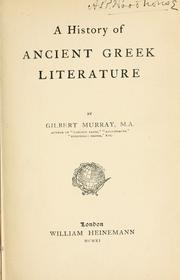 Cover of: A history of ancient Greek literature by Murray, Gilbert