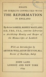 Cover of: Essays on subjects connected with the reformation in England | Samuel Roffey Maitland
