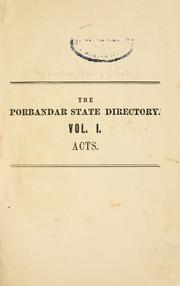 Cover of: The Porbandar State directory | Porbandar, India (State)