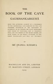 Cover of: The book of the cave Gaurisankarguh©Æa | ©ÆAnanda ©ÆAch©Æar