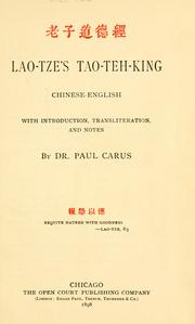 Cover of: Lao-Tze's Tao-teh-king: Chinese-English | Laozi