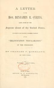 Cover of: A letter to the Hon. Benjamin R. Curtis | Charles Pinckney Kirkland