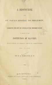 Cover of: A discourse on St. Paul's epistle to Philemon | Nathaniel Sheldon Wheaton
