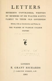 Cover of: Letters, hitherto unpublished, written by members of Sir Walter Scott's family to their old governess by Sophia Scott Lockhart