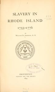 Cover of: Slavery in Rhode Island | W. D. Johnston