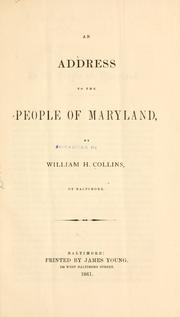 Cover of: An address to the people of Maryland by Collins, William Handy
