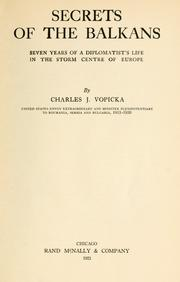 Cover of: Secrets of the Balkans | Vopicka, Charles J.