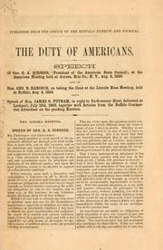 Cover of: The duty of Americans | Gustavus Adolphus Scroggs