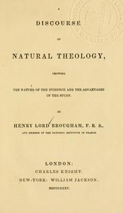 Cover of: A discourse of natural theology | Brougham, Henry Lord Baron