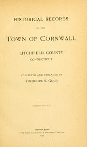 Cover of: Historical records of the town of Cornwall, Litchfield County, Connecticut | Theodore Sedgwick Gold