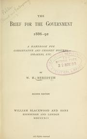 Cover of: The brief for the government, 1886-92 | W. H. Meredyth