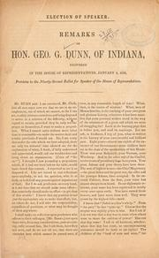 Cover of: Election of speaker by Dunn, George Grundy