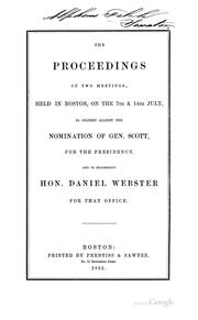 Cover of: The proceedings of two meetings by Boston (Mass.). Webster Meetings, July, 1852.