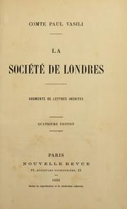Cover of: La soci©Øet©Øe de Londres | Vasili, Paul comte.