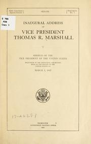 Cover of: Inaugural address of Vice President Thomas R. Marshall | Thomas Riley Marshall