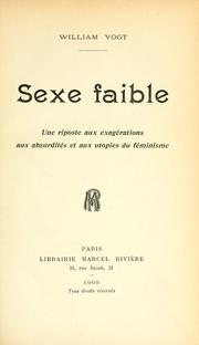 Cover of: Sexe faible | Vogt, William