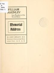 Cover of: William McKinley, late president of the United States by Shrady, John