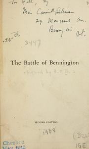 Cover of: The battle of Bennington by British Academy of Fencing.