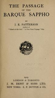 Cover of: The passage of the barque Sappho | J. E. Patterson
