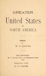 Cover of: Greater United States of North America | Etienne Joseph David