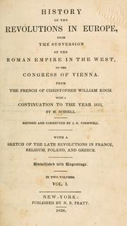 Cover of: Tableau des révolutions de l'Europe by Koch, Chr. de