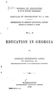 Cover of: Education in Georgia by Charles Edgeworth Jones