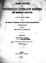 Cover of: De scholiis Horatianis commentatio | Hermann Usener