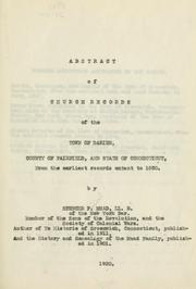 Cover of: Abstract of church records of the town of Darien | Spencer Percival Mead