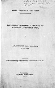 Cover of: Parliamentary government in Canada | Bourinot, John George Sir