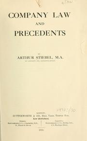 Cover of: Company law and precedents | Arthur Stiebel
