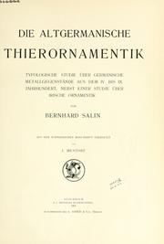 Cover of: Die altgermanische Thierornamentik | Bernhard Salin