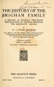 Cover of: The history of the Brigham family | Willard Irving Tyler Brigham
