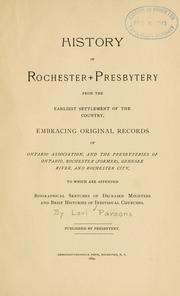 Cover of: History of Rochester presbytery from the earliest settlement of the country | Levi Parsons