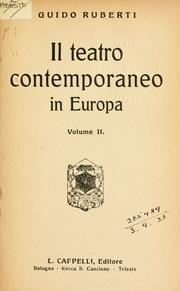 Cover of: Il teatro contemporaneo in Europa.opa | Guido Ruberti