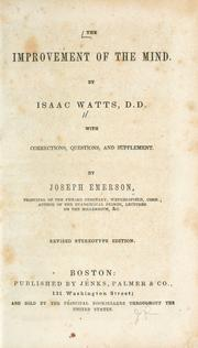 Cover of: The improvement of the mind by Isaac Watts