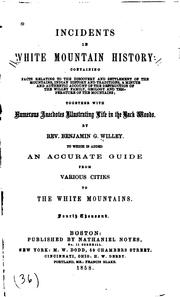 Cover of: Incidents in White Mountain history | Benjamin G. Willey