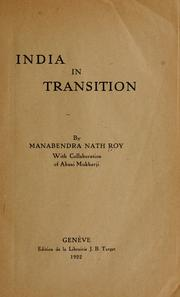 Cover of: India in transition by Roy, M. N.