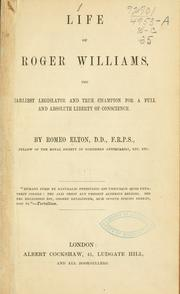 Cover of: Life of Roger Williams | Romeo Elton