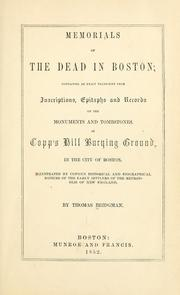 Cover of: Memorials of the dead in Boston by Thomas Bridgman